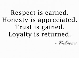 Respect, honesty, trust and loyalty.