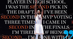 Durant 500x271 Kevin Durant is tired of being in 2nd place