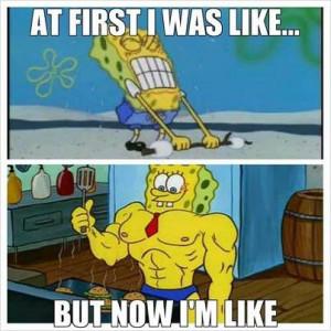 spongebob weight lifting