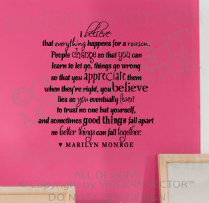 ... MARILYN MONROE Quote Vinyl Wall Decal I BELIEVE Vinyl Sticker Letters
