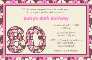 Free Quotes Pics on: 80th Birthday Invitations For Women