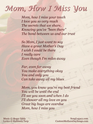 Lyric sheet for original Mother's Day song, Mom, How I Miss You