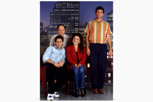 The cast of the sitcom Seinfeld: Jerry, slouched, along with Jason ...