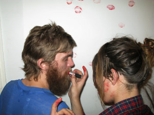 DASH SNOW and LOU DOILLON doing a DAN COLEN'S kiss painting, New ...