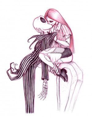 Geek Art: Jack Skellington and Sally Making Out on a Tomb Stone