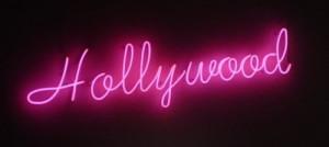 black, dark, hollywood, light, lights, neon, pink, sign, vintage