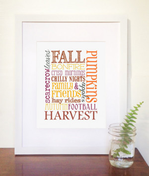 SALE: 8X10 Fall Words Harvest Quote Collage Print