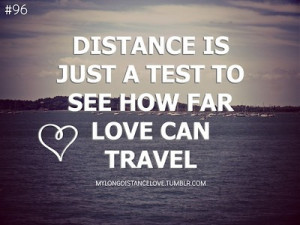 96 distance is just a test to see how far love can travel