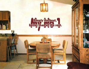 ... The Best My No 1 (Tina Turner) Lyric wall decal in a dining room