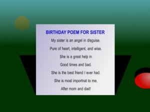 birthday poem for sister from our Facebook Page
