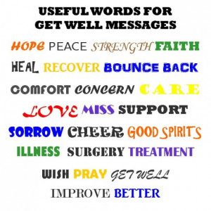 Use this list of powerful and common words for a get well soon card ...