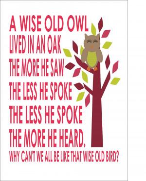 Wise Old Owl Nursery Rhyme - Nursery Baby Boy/Girl A4 - Print Poster ...