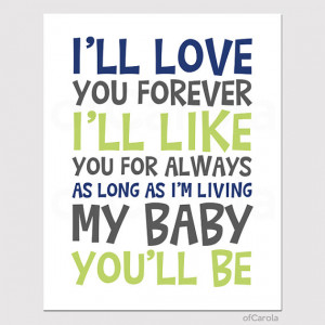 ll Love You Forever Quote Print - Baby Nursery Love Text Quote Wall ...