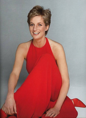 Patrick Demarchelier Princess Diana in Valentino red on the front ...