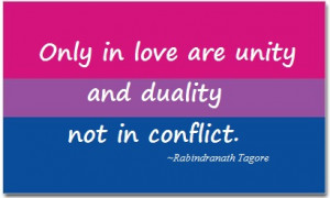 Bisexual Pride Flag featuring quote by Rabindranath Tagore.
