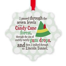 Candy Cane Forest Quote Snowflake Ornament for