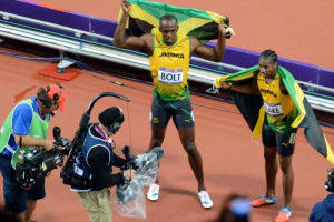 Photo: LtoR Usain Bolt and Yohan Blake celebrate their Jamaican one ...