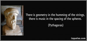 There is geometry in the humming of the strings, there is music in the ...