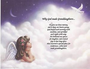 Details about GOD MADE GRANDDAUGHTER Poem Angel Print Personalized