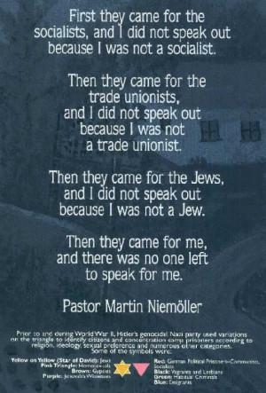 Pastor Martin Niemoller quote