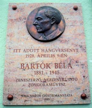 la Bart k memorial plaque in Baja, Hungary