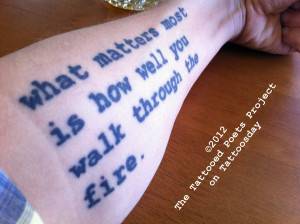 This morning's tattooed poet is Eric Morago , who shares these lines ...