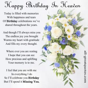 In Loving Memory Cards – Happy Birthday In Heaven