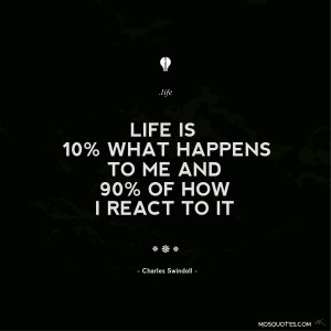Life Inspirational Quotes Life is 10 percent what happens to me and 90 ...