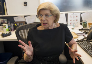 Nina Totenberg works at her desk after giving an interview at NPR on ...