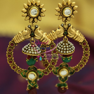 Double Step Handmade Party Wear Jhumka Earrings Fashion Jewelry Online