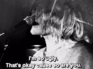 black and white, kurt cobain, lithium, music, nirvana, ugly