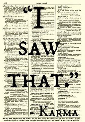 Saw That, Karma Quote, Dictionary Art Print, Wall Decor, Art Print ...