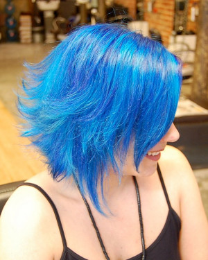 Cool Blue Bluehair Colored