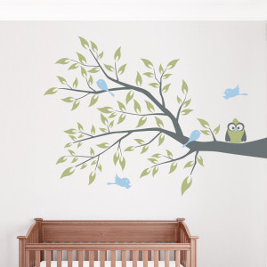 Wall Decals Quotes for Nursery Ideas - Owl 4bird Branch Wall Decal