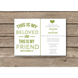 Modern Christian Wedding Invitation - This Is My Beloved Song of ...