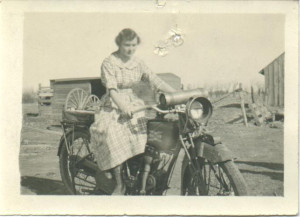 Girl Old Motorcycle Post