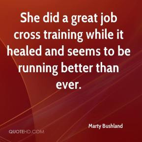 She did a great job cross training while it healed and seems to be ...