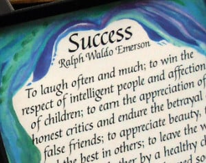EMERSON SUCCESS MAGNET Quotation In spirational Saying Heartful Art by ...