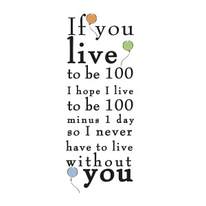 Winnie the Pooh - Live to be 100 Quote Wall Stickers