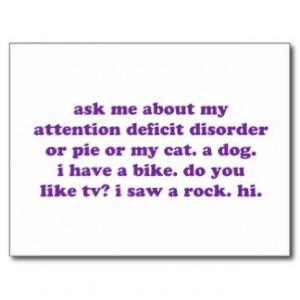 ADD ADHD Funny Quote - Purple Post Card