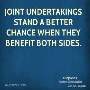 Joint undertakings stand a better chance when they benefit both sides.