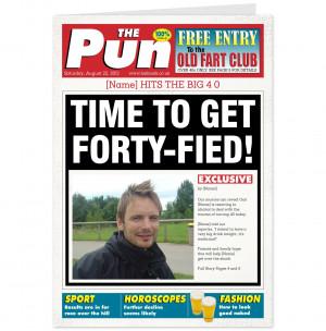 40th Birthday The Pun Newspaper Spoof Card-Hallmark UK