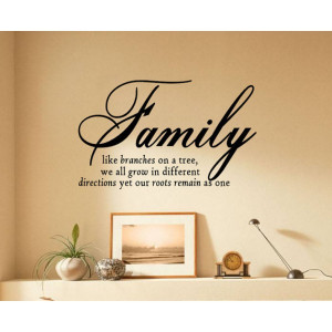 Family Like Branches On A Tree vinyl lettering wall sayings home art