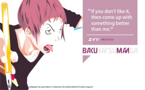 quotes typography bubbles office pink hair short hair bakuman anime ...