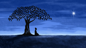 ... of the Buddha gaining enlightenment while sitting under a fig tree