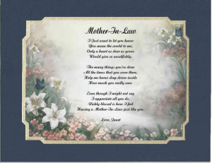 Personalized Poem For Mother In Law Christmas Birthday Gift