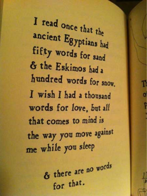 read once that the ancient Egyptians had fity words for sand and the ...