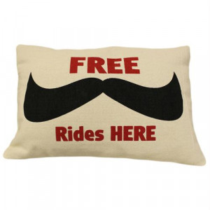 ... Quotes / Fathers Day / Canvas Cushion Cover – FREE Moustache Rides