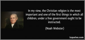 , the Christian religion is the most important and one of the first ...