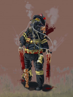 Awesome Firefighter Pictures Zombie firefighter by kite7777